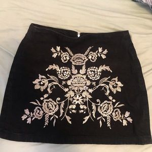 Embroidered Black Skirt from TopShop